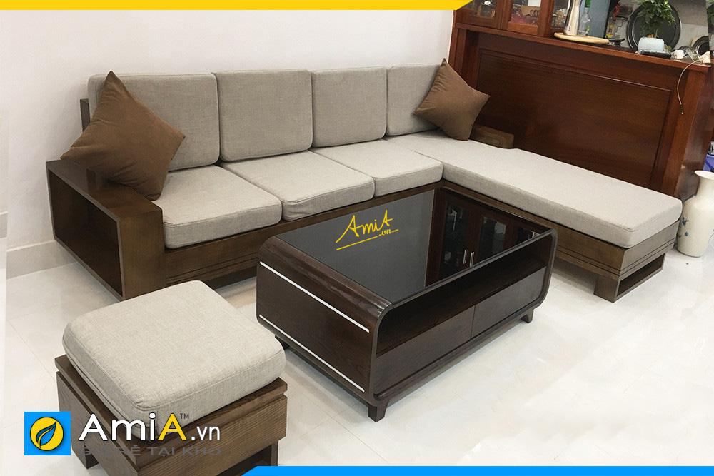 sofa gỗ góc chữ L hiện đại
